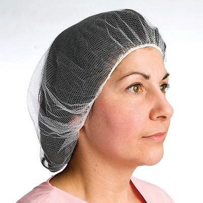 """21"""" white hairnet in nylon and polyester, 100/pkg"""