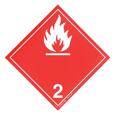 Placard for the transport of flammable gases, class 2
