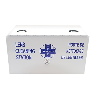 Heavy-duty metal lens cleaning station with padlock and key